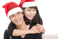 Santa cap couple Stock Photos