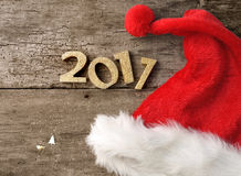 2017 with santa cap Stock Images