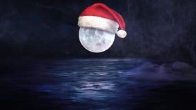 Santa Cap on Moon at Midnight 4K