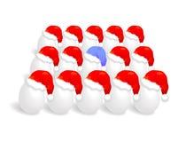 Santa cap over eggs Royalty Free Stock Photo