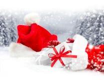 Santa Cap and Shoe Royalty Free Stock Photography