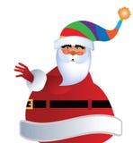 Santa in cappello a strisce della calza Immagine Stock