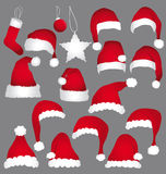 Santa caps collection. Isolated illustrations Royalty Free Stock Photography