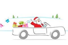 Santa in car Stock Images