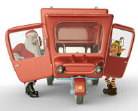 Santa car side view and santa helper going to xmas Stock Photo