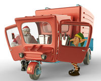 Santa car side view and santa helper going to xmas Stock Image