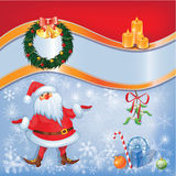 Santa card with Christmas decor 04. Christmas and New Year set with Santa and decorations. eps10 file with trasparency and mask. Cartoon cute style Royalty Free Stock Photo