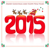 2015 and santa card. Merry Christmas and happy new year 2015 with santa claus vector illustration