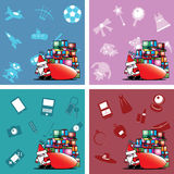 Santa carry heavy gift box bag Stock Photography