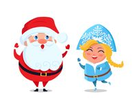 Santa Carry Snow Maiden on Sleigh Vector Character. Santa and snow maiden amused fairy tale heroes vector isolated on white. Happy Father Christmas and grand Stock Images