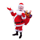Santa carrying gift bag isolated with white Stock Image