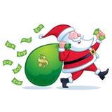 Santa Carrying Large Bag av pengar arkivfoton