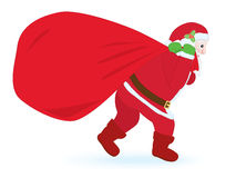 Santa carrying sack with gifts Royalty Free Stock Images