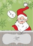 Santa/cartolina di Natale addormentate pigre Immagine Stock