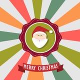 Santa in cartolina di Natale allegra Fotografie Stock Libere da Diritti