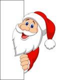 Santa cartoon with blank sign Stock Photography