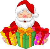 Santa cartoon with christmas presents vector illustration