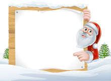 Santa Cartoon Christmas Sign Royaltyfri Bild