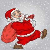 Santa cartoon in christmas ,vector xmas illustration of santa Royalty Free Stock Image