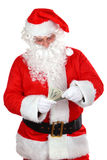 Santa with cash. Santa claus with cash on white background Stock Photos
