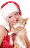 Santa and cat Royalty Free Stock Photos