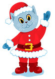 The santa-cat. The santa-cat waves a paw. Isolatod on white. Vector illustration Stock Images