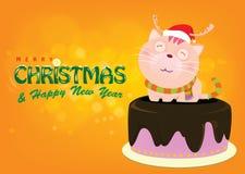 Santa Cat auf Kuchen grüßt für Weihnachtsabend helles backgroun Stockfotografie