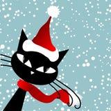 Santa cat. Christmas card. stock photography