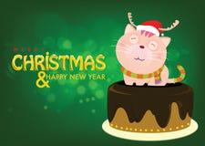 Santa Cat en la torta está saludando para la Nochebuena Imágenes de archivo libres de regalías