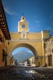 Santa Catalina Arch ans Agua Volcano - Antigua, Guatemala Stock Photo