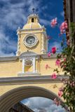 The Santa Catalina arch Antigua Guatemala. February 14, 2015 Antigua Guatemala: the Santa Catalina arch was a bridge between buildings in the past, nowadays a stock photo
