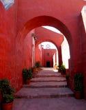 Santa Catalina. Arched walkway of the Santa Catalina convent in Arequipa, Peru royalty free stock photo