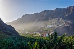 Santa Catalina bay, La Gomera. Santa Catalina bay with banana plantations, La Gomera, Canary islands stock images