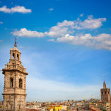Santa Catalina church towerand Miguelete in Valencia Royalty Free Stock Images