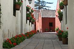 Santa Catalina Convent, Arequipa, Peru. Inside the ancient Santa Catalina convent in Arequipa, Peru royalty free stock image
