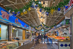 Santa Catalina market in Christmas decor Royalty Free Stock Images