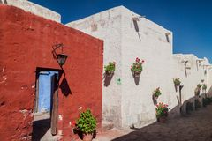Santa Catalina monastery in Arequipa. Alley with flowers in Santa Catalina monastery in Arequipa, Peru stock images