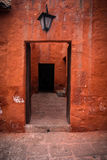 Santa Catalina Monastery. Bright red walls in Santa Catalina Monastery in Arequipa, Peru Stock Photography