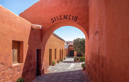 Santa Catalina Monastery with the word SILENCE written on the ar royalty free stock image