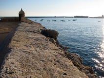 Santa Catalina slott i Cadiz Royaltyfria Bilder