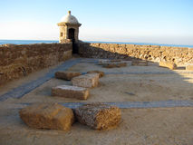 Santa Catalina slott i Cadiz Arkivfoto