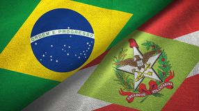 Santa Catarina state and Brazil flags textile cloth, fabric texture. Santa Catarina state and Brazil folded flags together royalty free illustration