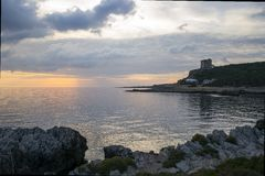 Santa Caterina dans Salento au coucher du soleil Photo stock