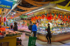 Santa Caterina market Barcelona. A stand at the neighbourhood market of Santa Caterina in Barcelona during carnival Royalty Free Stock Images