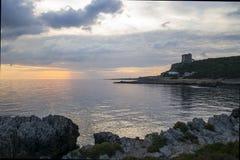Santa Caterina in Salento bij zonsondergang Stock Foto