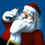 Santa Cell Phone. Santa talking on a cell phone over a blue background Royalty Free Stock Images