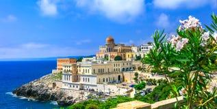 Santa Cesarea Terme, beautiful coastal town in Puglia,famous fo. Impressive Santa Cesarea Terme,view with colorful houses,old castle and sea,Puglia,Italy stock image
