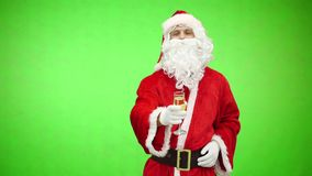 Santa with a champagne glass. Santa Claus holding a drink. Funny Christmas toasts. Chromakey