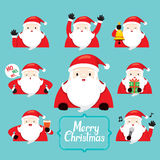 Santa Character With Different Actions set royalty free illustration