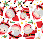 Santa Characters Seamless Pattern Stock Photos